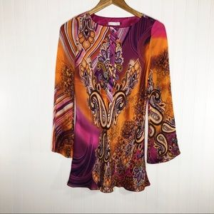 Badgley Mischka Groovy Long Sleeve Silk Dress XS